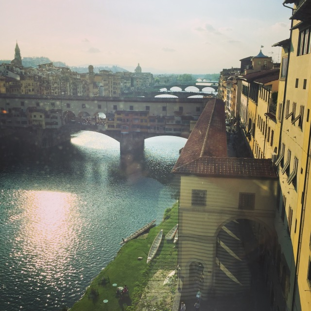 A view from the Uffizi gallery of Ponte Vecchio,